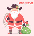 cowboy santa claus with western hat and holiday vector image vector image