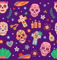 day dead seamless pattern dia de los muertos vector image