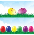 Easter eggs in a grassland vector image vector image