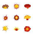 explosion icons set flat style vector image vector image