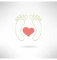 Feet massage sign and feet logo with heart vector image