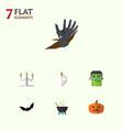 flat icon celebrate set superstition cranium vector image vector image