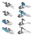 Full container port loader isometric icon set vector image vector image
