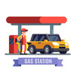 gas station worker filling up fuel into car vector image