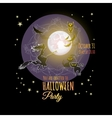 Halloween card with Moon witch owl bat cats vector image