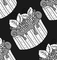 Hand drawn seamless pattern cupcakes vector image