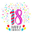 happy birthday for 18 year party invitation card vector image vector image