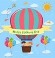 happy childrens day poster with kids riding vector image