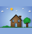 house in green field with grass and tree paper vector image vector image
