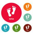 human step icons circle set vector image