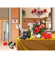 interior room with dinner table for a holiday vector image vector image