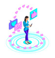 isometry girl watching a video on a social network vector image vector image