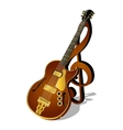 jazz guitar with a treble clef and shadow vector image vector image