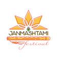 krishna janmashtami festival concept logo design vector image vector image