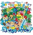 lettering hello summer with decorative vector image