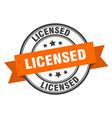 licensed label orange band sign vector image vector image