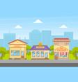 market pets shop bakery buildings facades view vector image vector image