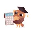 mathematic teacher owl with calculator bird vector image vector image