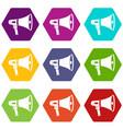 megaphone icon set color hexahedron vector image vector image