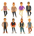 men in different casual fashion clothes styles vector image vector image