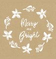 merry and bright mistletoe christmas flower wreath vector image vector image