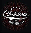 Merry Christmas Happy New Year Typography vector image vector image