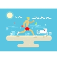 Morning jog on beach vector image vector image