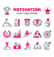 motivations outline icons set vector image vector image