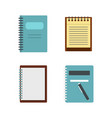 notebook icon set flat style vector image