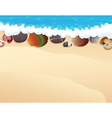 Pebble and seashells on the sand vector image vector image
