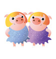 piggy twin sisters in shiny dresses vector image