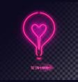 pink neon lightbulb logo vector image vector image