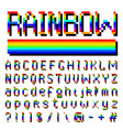 pixel rainbow font 8-bit symbols digital video vector image