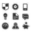 Set of black and white flat icons for websites and vector image