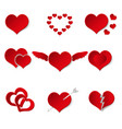 set of red paper style valentine hearth love vector image vector image