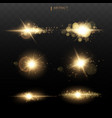set shining star sun particles and sparks vector image vector image