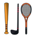 Set stick bat racket sport equipment vector image