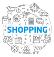 shopping linear vector image