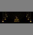 shubh diwali festival black and gold banner design vector image