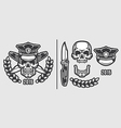 Skull Policeman Head in Cap with Crossed Knives vector image vector image