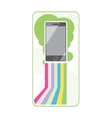 Smartphone on stylish background bands of lines vector image