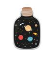 space galaxy in jar print vector image vector image