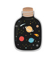 space galaxy in jar print vector image