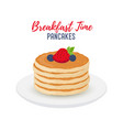 tasty pancakes with berries on white plate vector image vector image