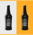 textured craft beer bottle label design vector image vector image