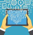 The businessman holding modern digital tablet devi vector image vector image