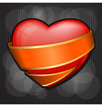 valentines day heart wrapped in orange ribbon eps vector image vector image
