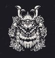 vintage monochrome owl samurai concept vector image vector image