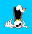 vulture on bones buzzard and skeleton scavenger vector image vector image