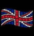 waving united kingdom flag mosaic of cabin items vector image